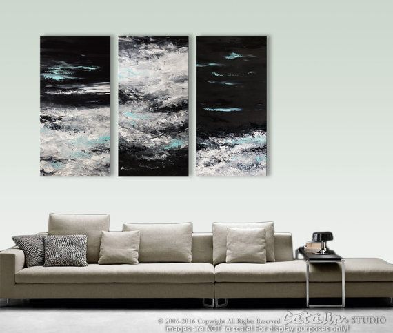 Abstract painting xxl original landscape seascape wall art home decor black and white triptych fine by catalin textured also rh in pinterest