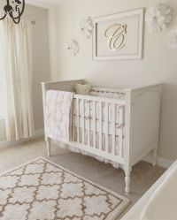 Neutral white, gold, and blush pink nursery. Baby. Baby