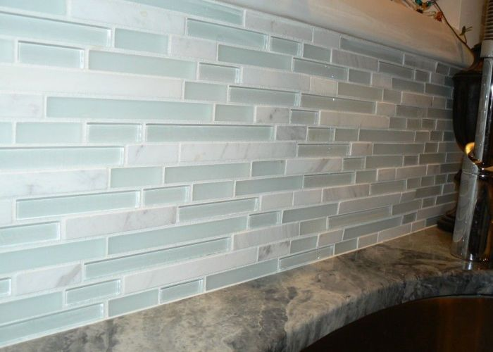 White sea glass tile backsplash kitchen is that  little green also awesome beach with various patterns breathtaking