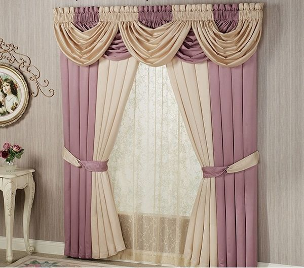 Window Valance Curtains In Beige And Ash Pink Living Room