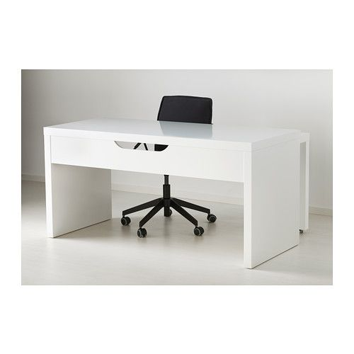 MALM Desk with pullout panel white  Malm Work surface