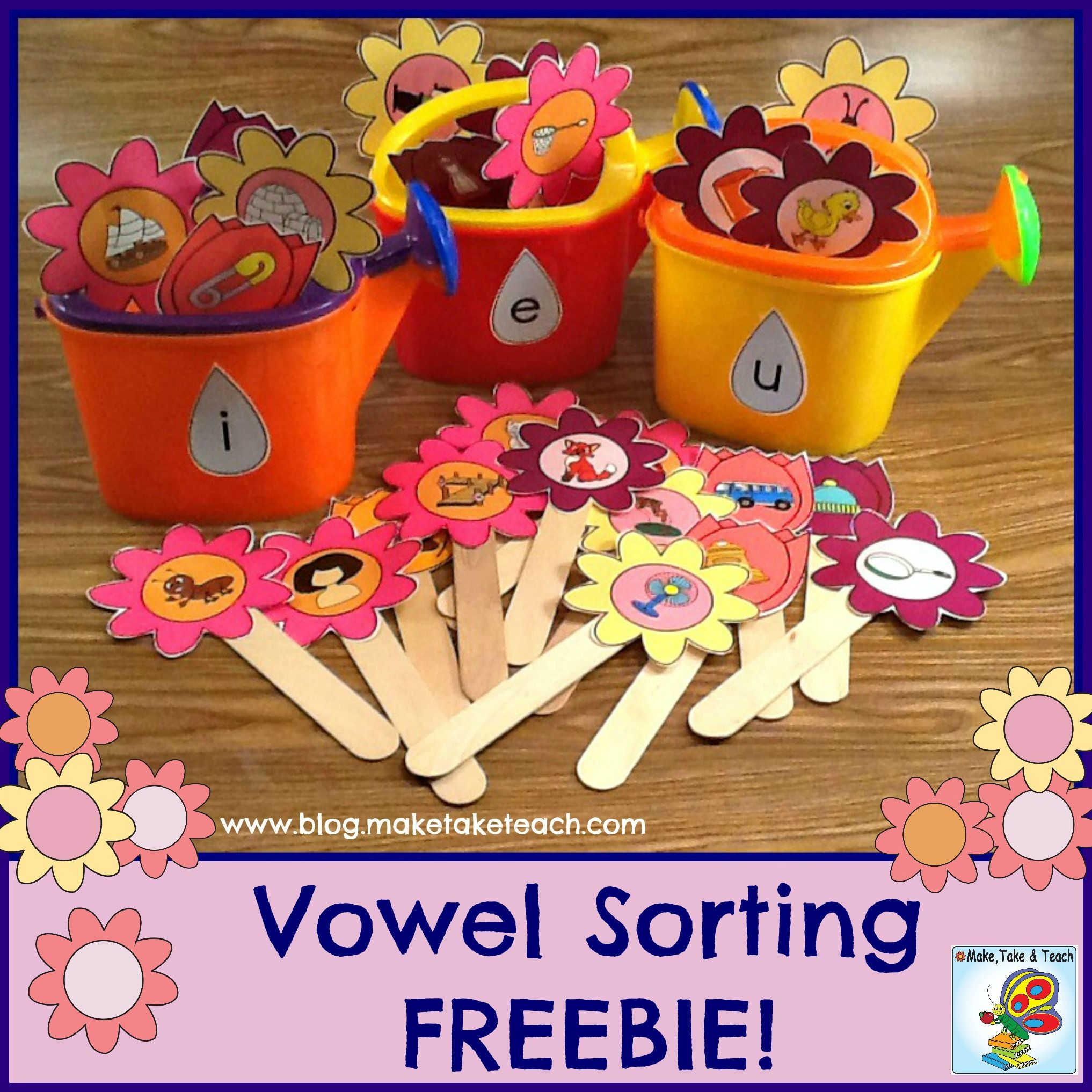 Free Short Vowel Pics Printed On Flowers Use For Sorting Activities During Your Small Group