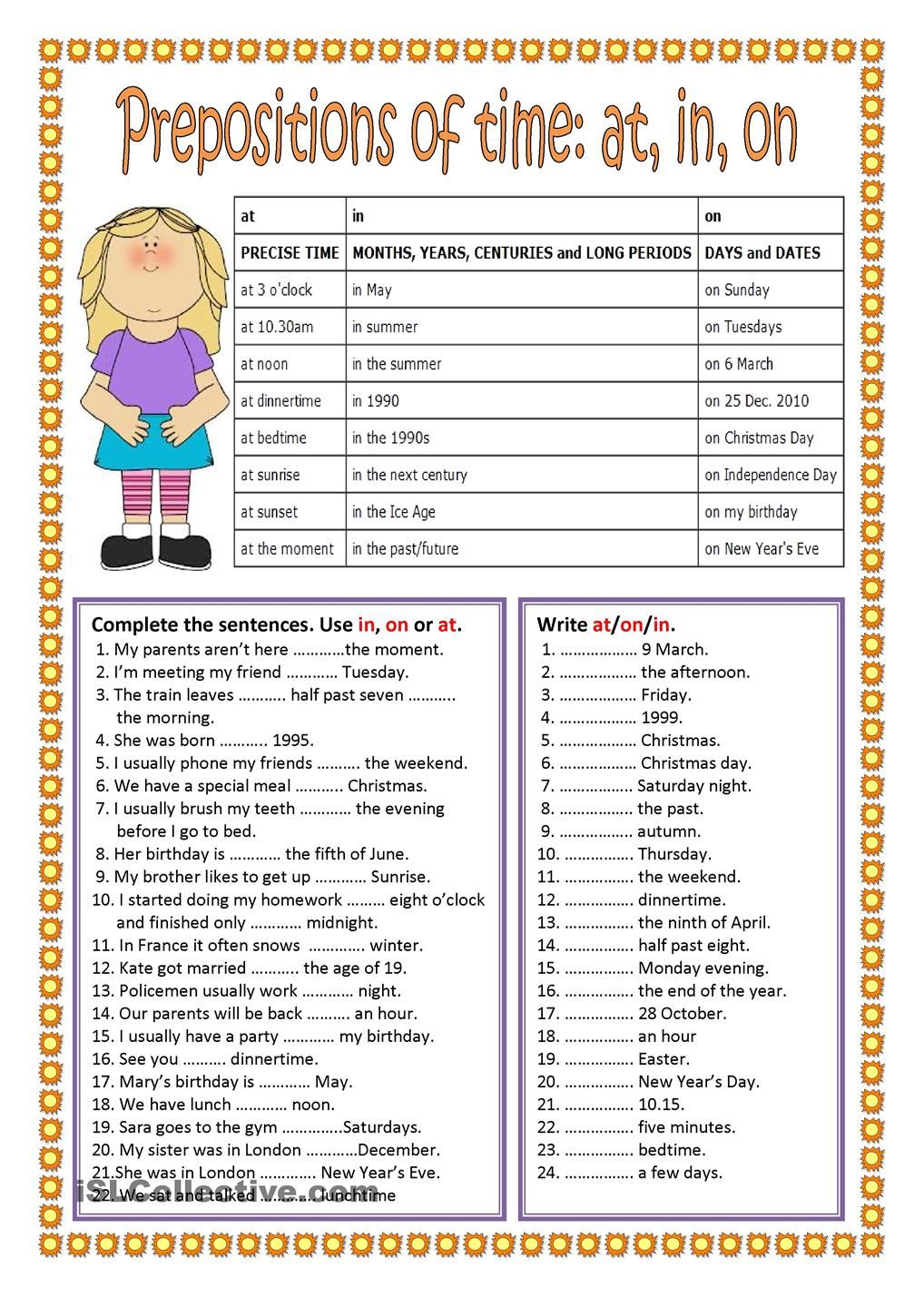Prepositions Of Time  Поиск в Google  Worksheets  Pinterest  Prepositions, Exercises And English