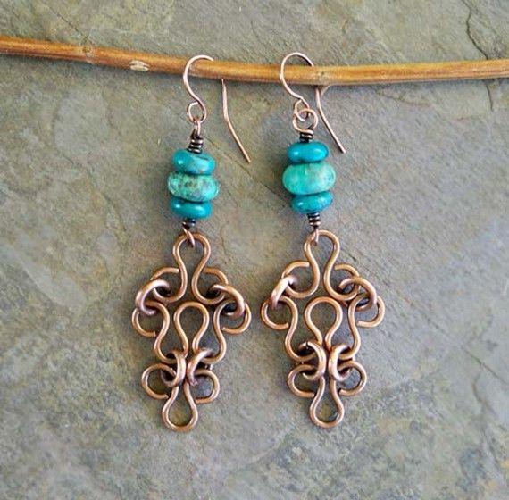 Turquoise Earrings Celtic Jewelry Handmade Copper Earrings