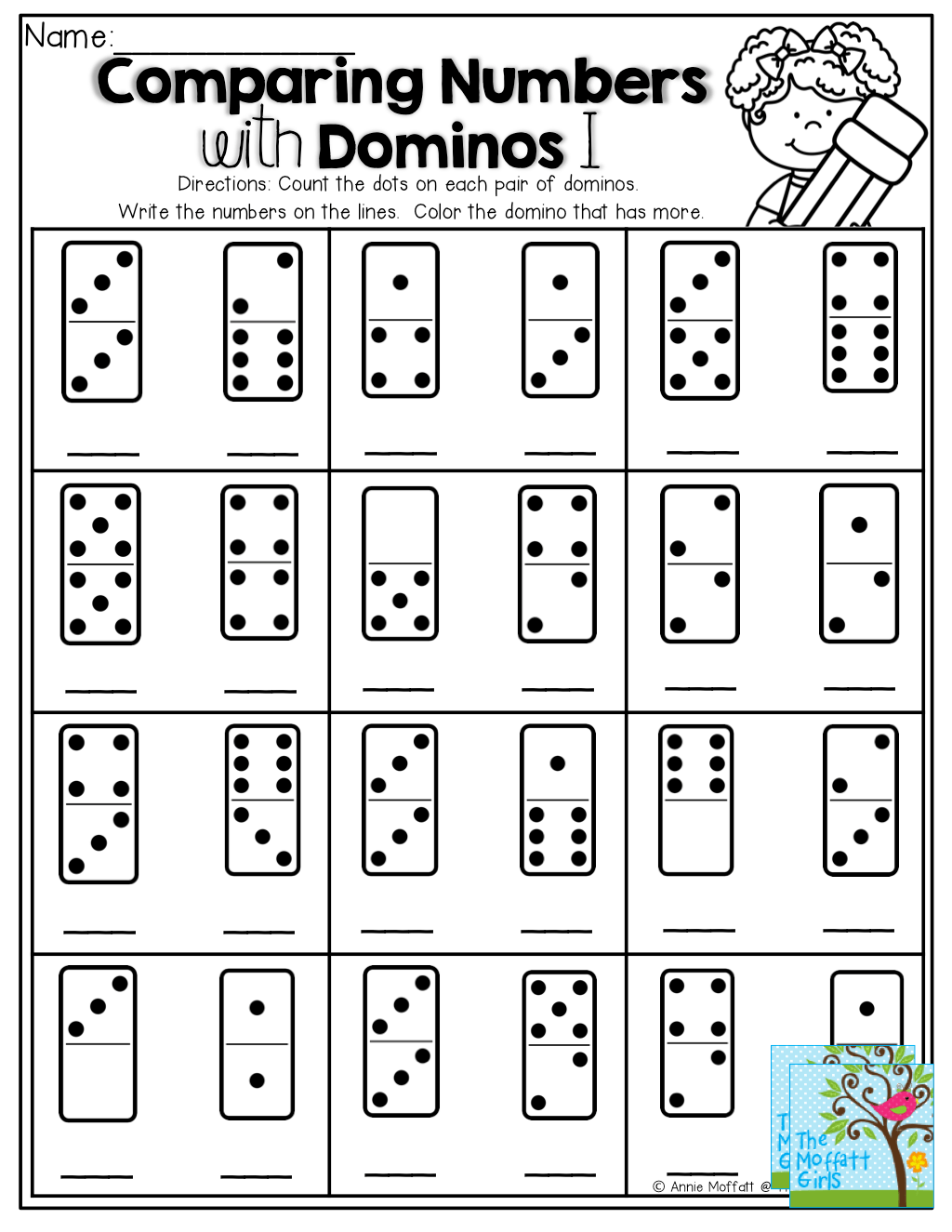 Comparing Numbers Count The Dots On The Domino Write The Number Color The Domino That Has