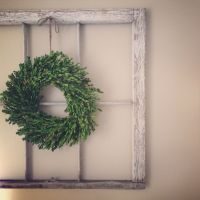 Old window with Boxwood wreath. Love! | w a l l h a n g i ...