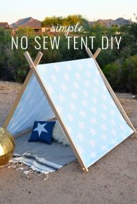 Simple No Sew Kid's Tent DIY   Sewing diy, Kids s and Tents
