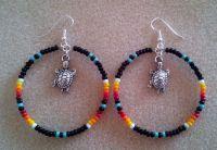 Turquoise + Black Beaded Silver TURTLE Hoop Earrings 2.5 ...
