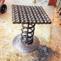 Industrial Scrap Metal Spring Bar Stool by Raymond Guest ...