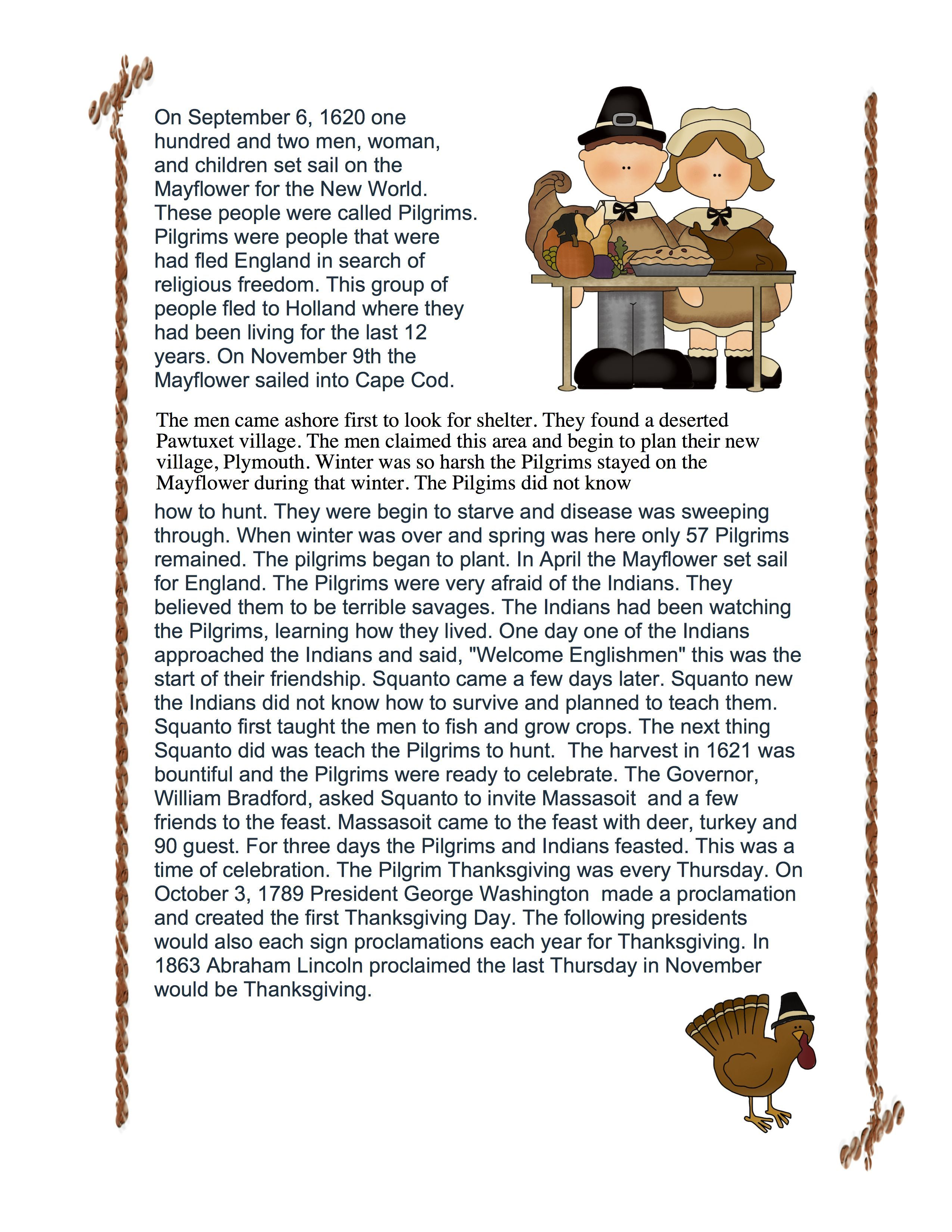 A Thanksgiving Story With Comprehension Questions