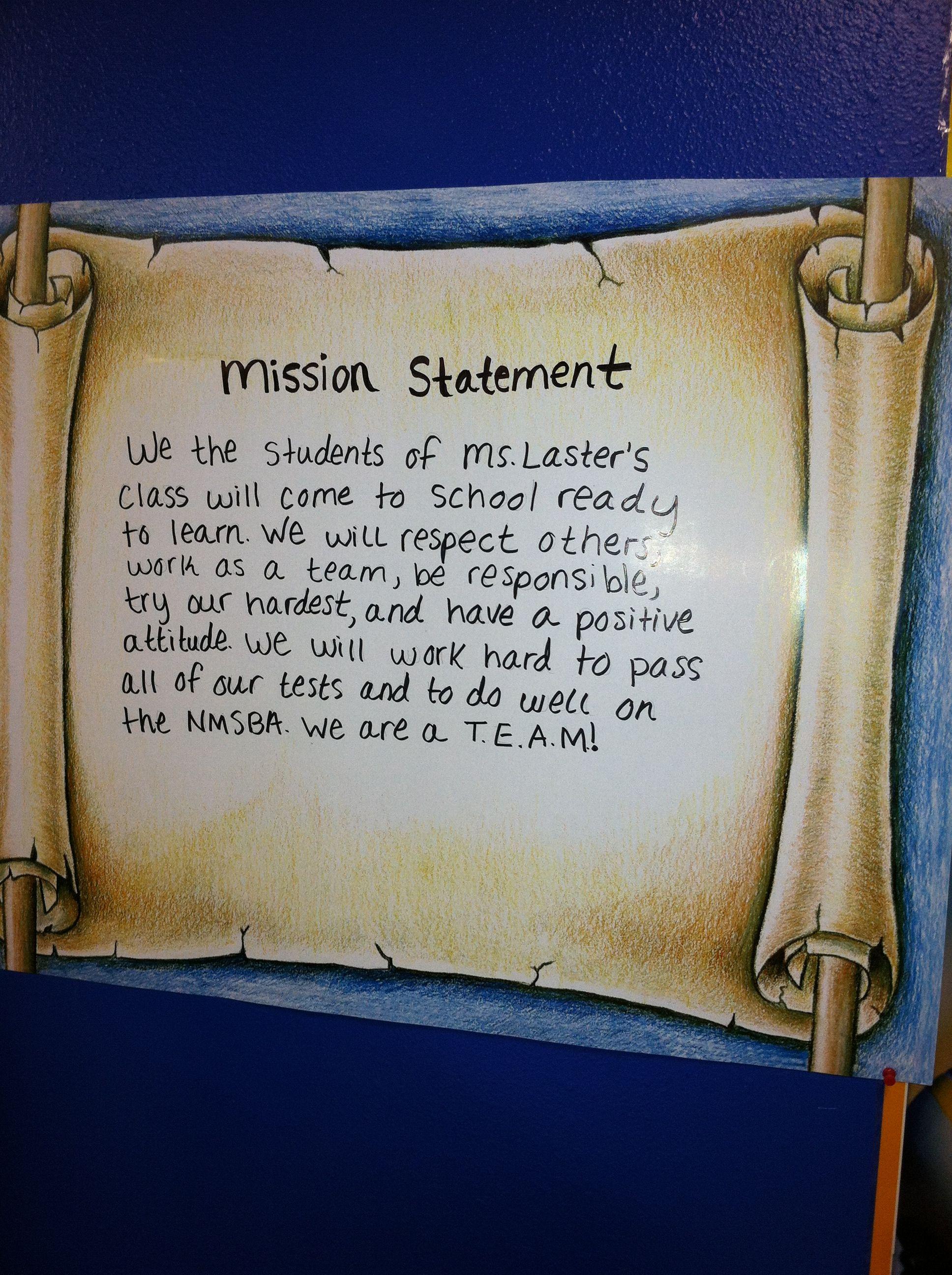 Class Mission Statement 5th Grade