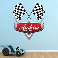 Personalized Boys Race Car Name Decal - Car Wall Decals ...