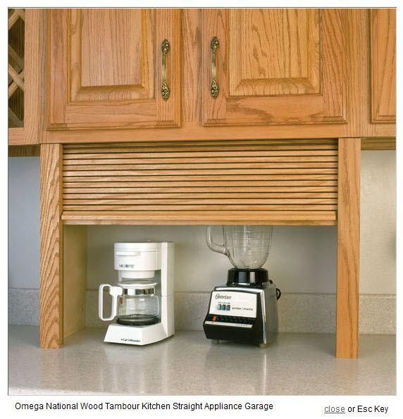 Appliance Garage  Wood Tambour Kitchen Straight Appliance