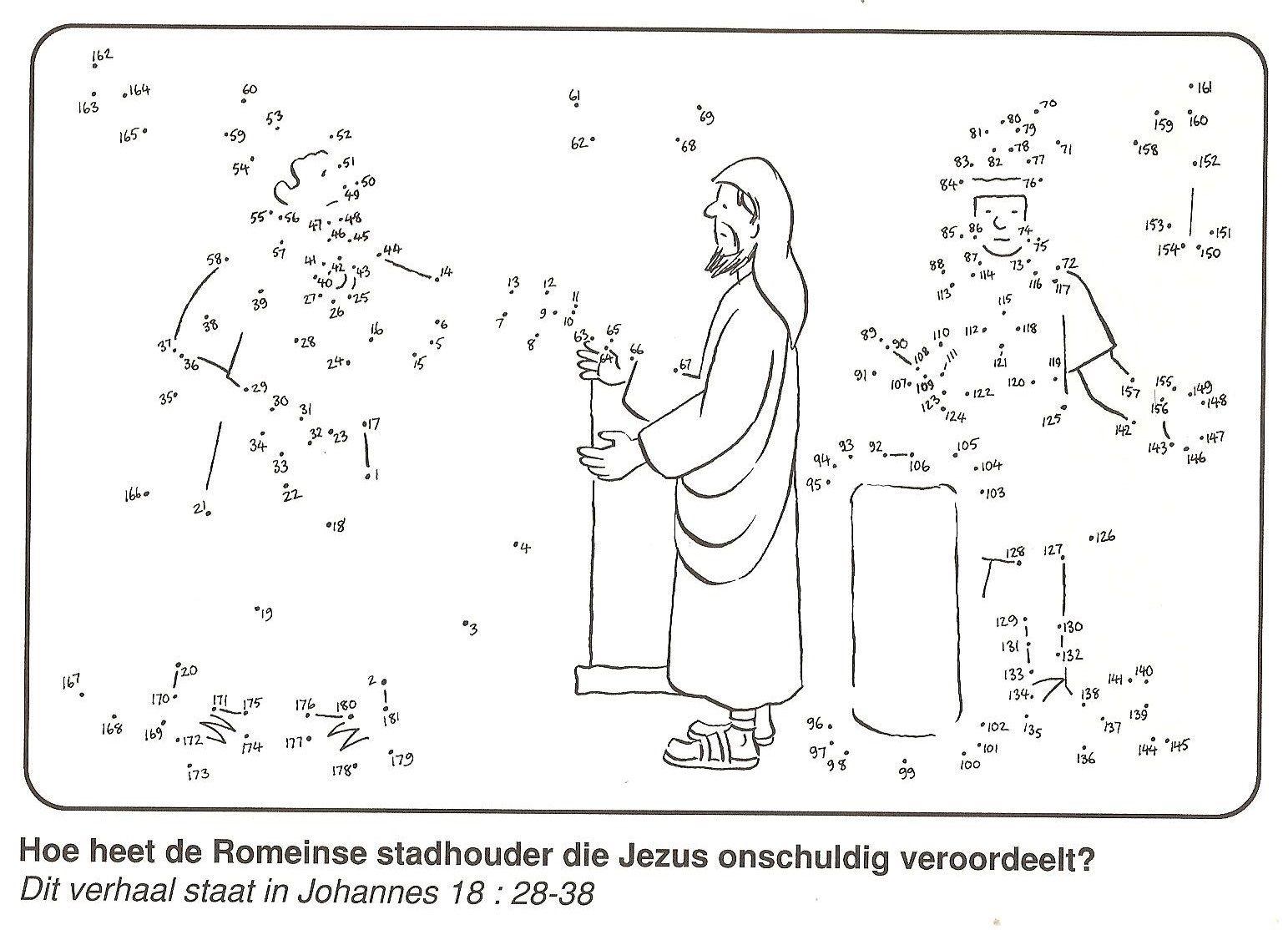 Jezus Ten Onrechte Veroordeeld Door Pilatus En Herodus Van Stip Naar Stip