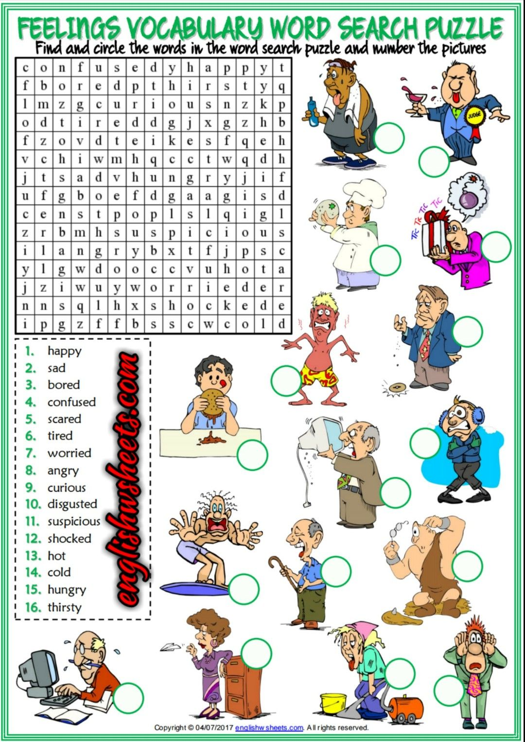 Feelings Emotions Esl Printable Word Search Puzzle