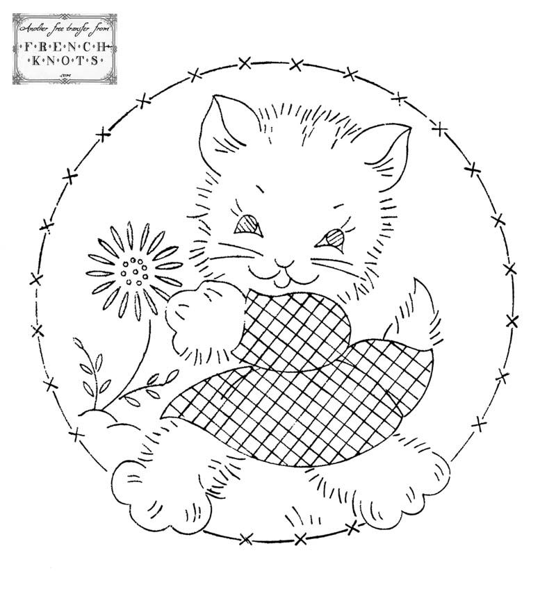 free Adorable Kitten Vintage Embroidery Transfer Pattern