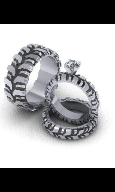 Mud Tire Tread Wedding Ring Set Stuff Pinterest
