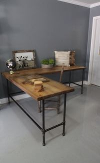 Industrial L Shaped Desk Wood Desk Pipe Desk Reclaimed by