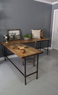 Industrial L Shaped Desk Wood Desk Pipe Desk Reclaimed by ...