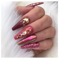 Fall colors chrome coffin nails glitter and foil nail art ...