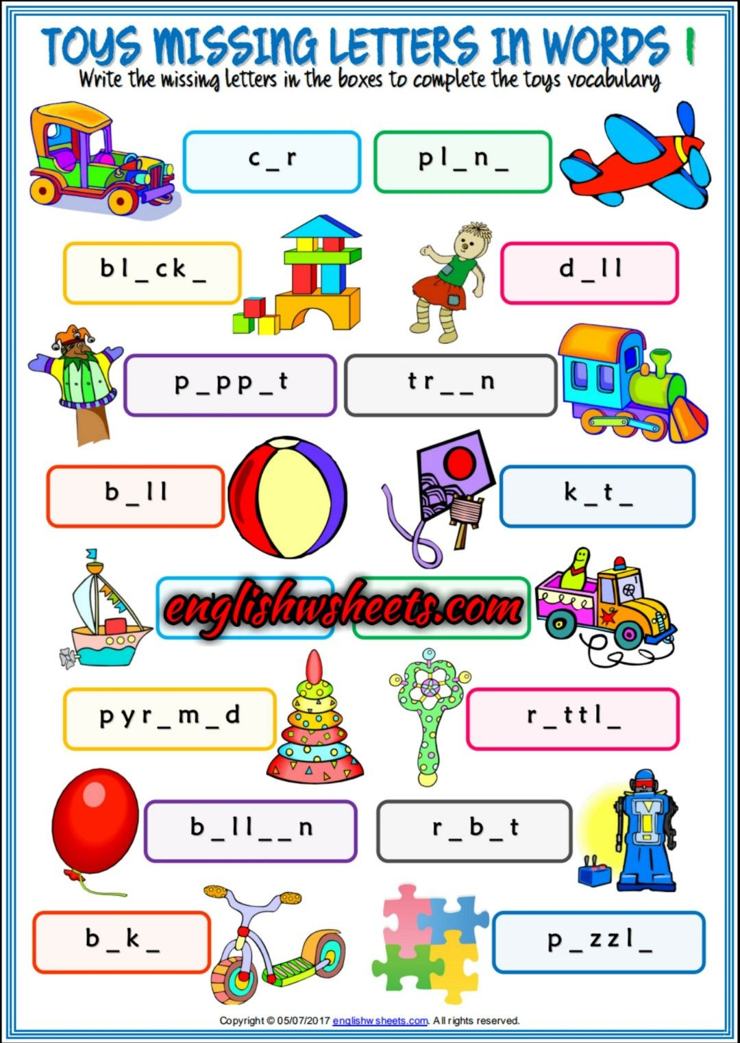 Toys Esl Printable Missing Letters In Words Worksheets For