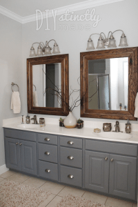 Painted Bathroom Cabinets Gray and Brown Color Scheme