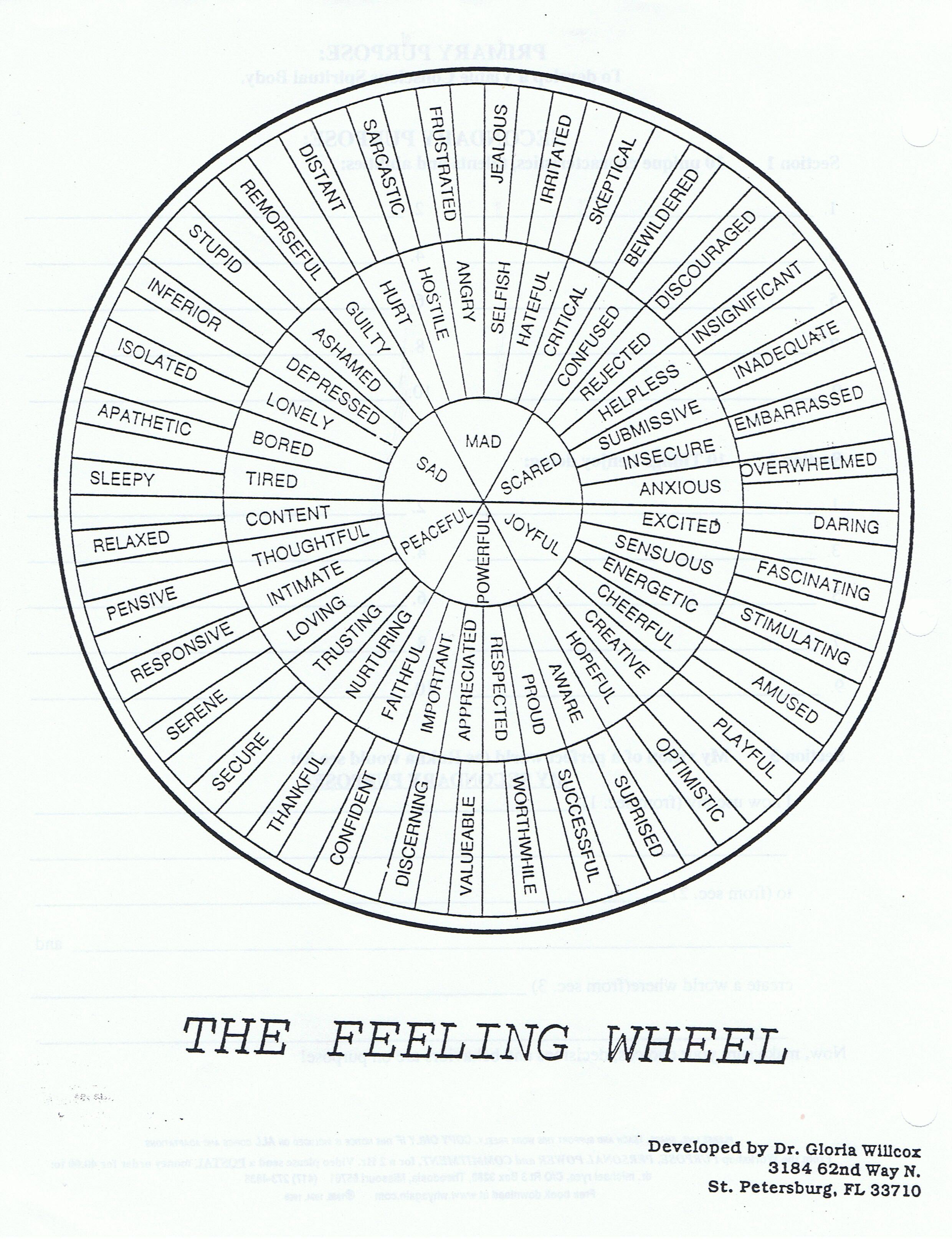 The Feeling Wheel Developed By Dr Gloria Wilcox St Petersburg Fl