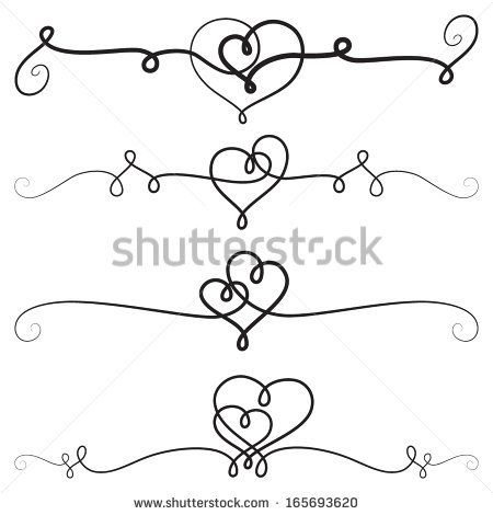 Decorative vignettes with hearts; vintage borders, scrolls
