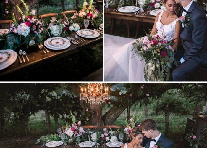 Enchanted garden wedding inspiration  princess inspired magical chandelier hanging from tree also