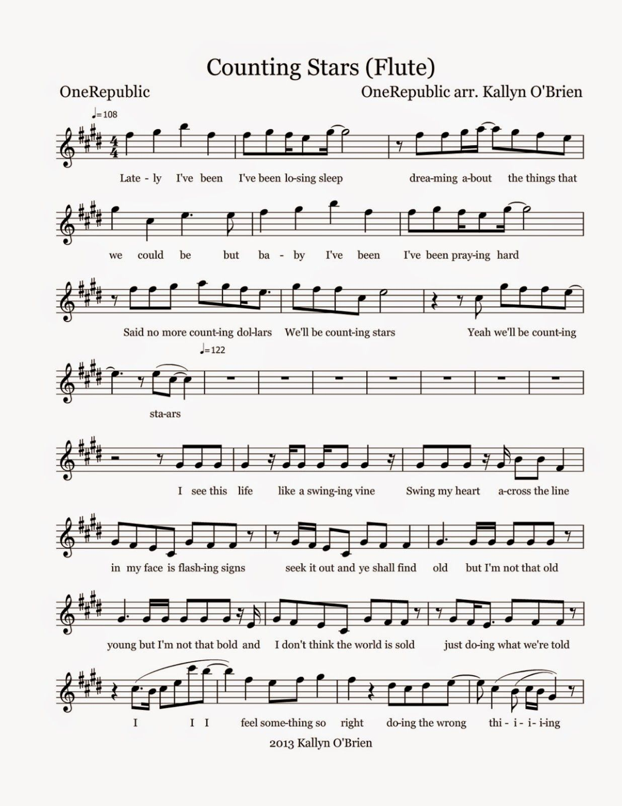 Flute Sheet Music Counting Stars