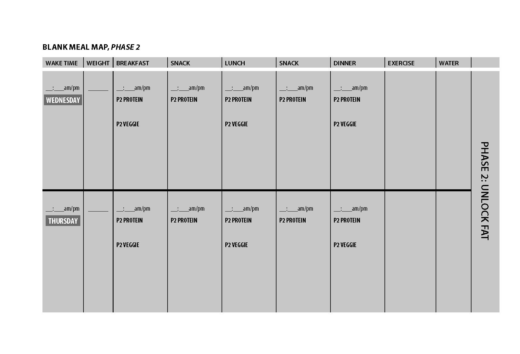 Printable Blank Meal Map For Phase 3 Of The Fast
