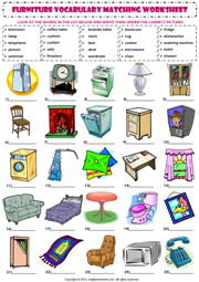 In My House Furniture Vocabulary Matching Exercise Worksheet Icon Bedroom Names English