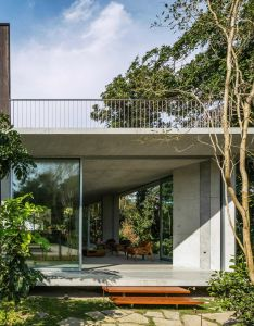 Gui mattos perches timber clad box on top of pyramidal ceiling at brazilian beach house also  concrete in the form an inverted pyramid opens up rh pinterest