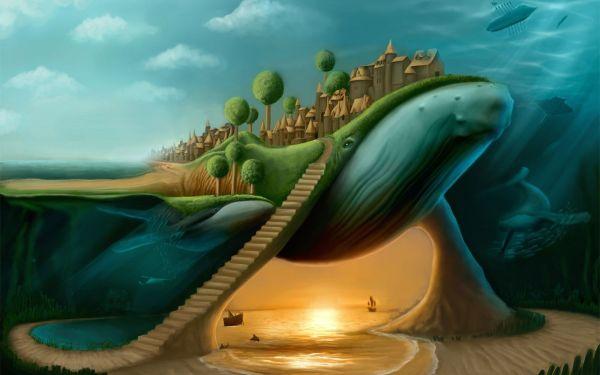 Humpback Whales 2d Surrealism Fantasy