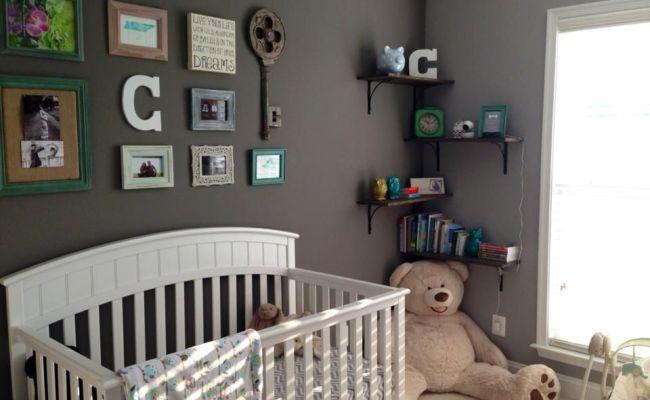 Baby Boy Nursery With Collage Wall Greynursery Baby Miz