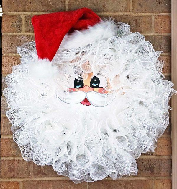 Christmas Deco Mesh Santa Wreath
