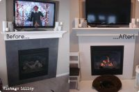Painted Fireplace Tiles: First lightly sand tiles, then ...