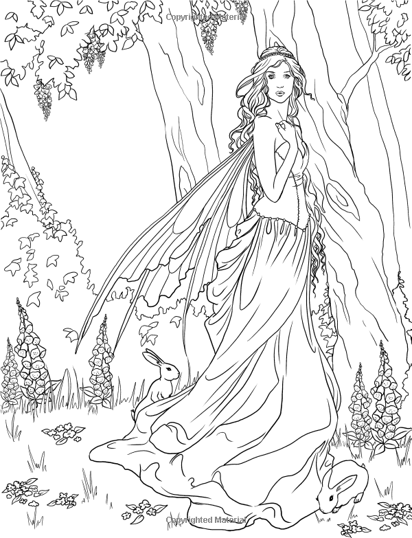 Fairy. Adult coloring page. source: http://www.amazon.com