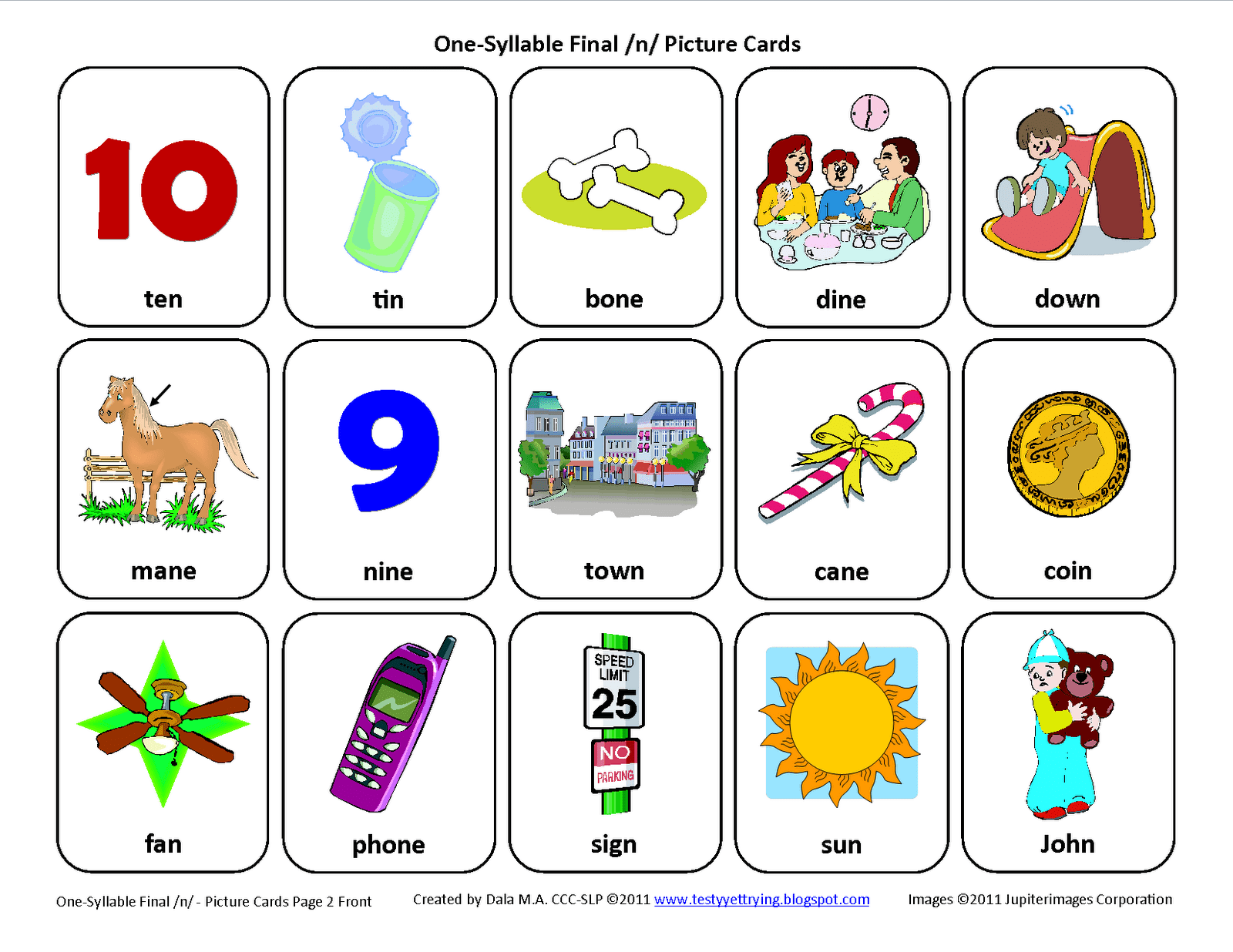 Testy Yet Trying Final N Free Speech Therapy Articulation Picture Cards