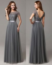 Grey Long Modest Bridesmaid Dresses With Cap Sleeves Lace ...