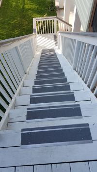 Metal indoor/outdoor stair treads make a wooden deck safer ...