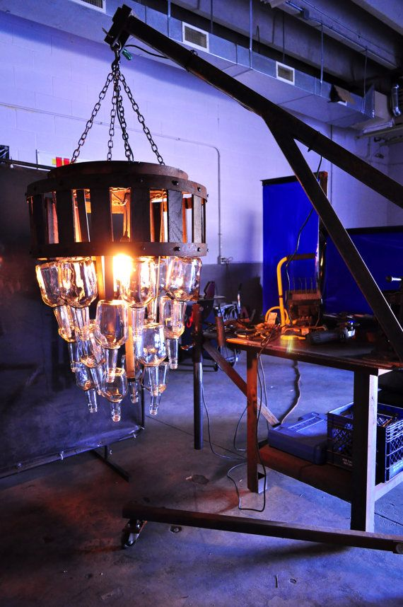 A Re Purposed Bourbon Bottle Chandelier Makers Mark Bottles Barrel Rings And Staves