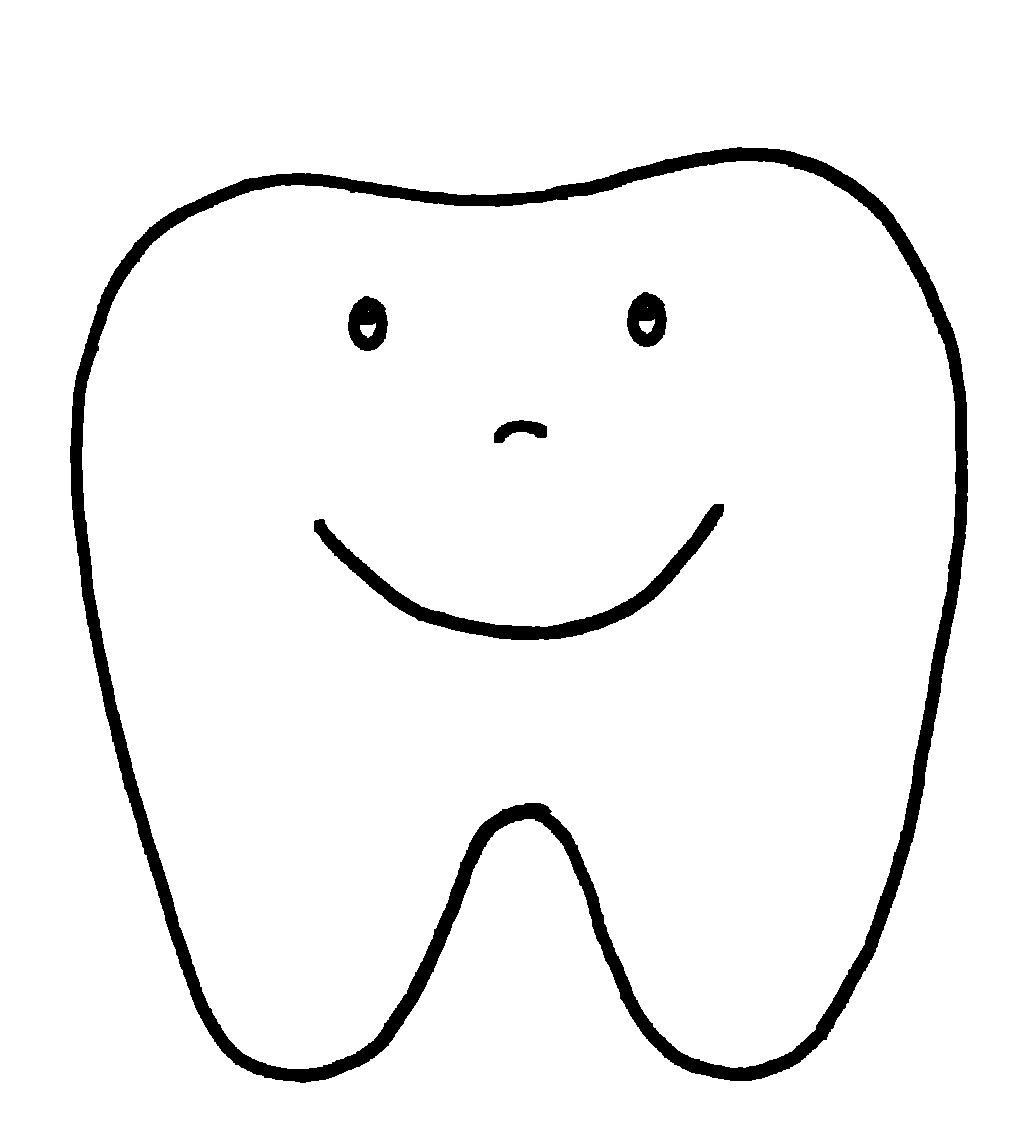 Happy Tooth Pattern or Coloring Page pinned @ I Love