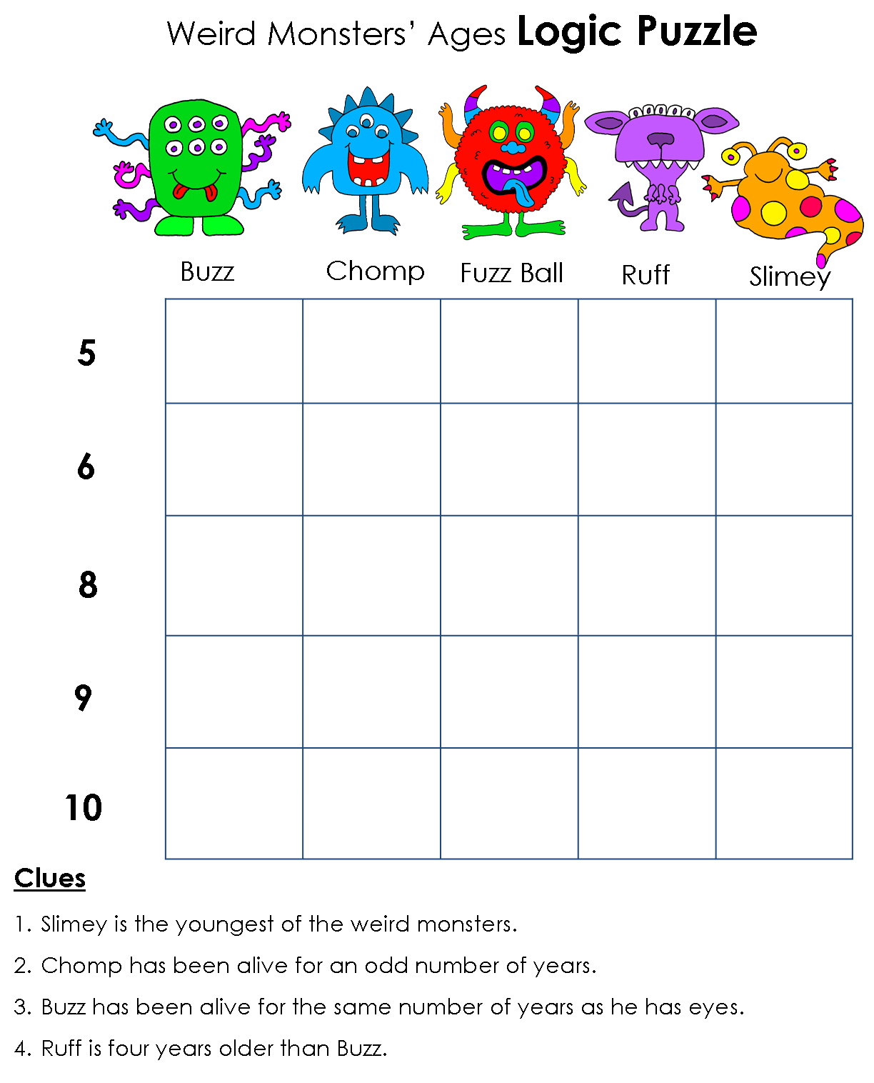 Writing Activities For Middle School Printable Logic Puzzles
