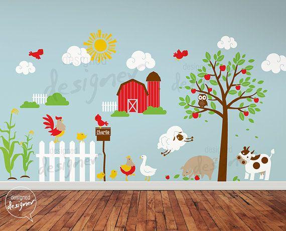 children wall decal wall sticker farm theme by designeddesigner