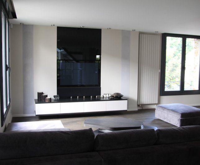 Photo Deco Salon Blanc Moderne Maison Contemporaine Also Photos Idees  Decoration De Meuble Tv Et Home