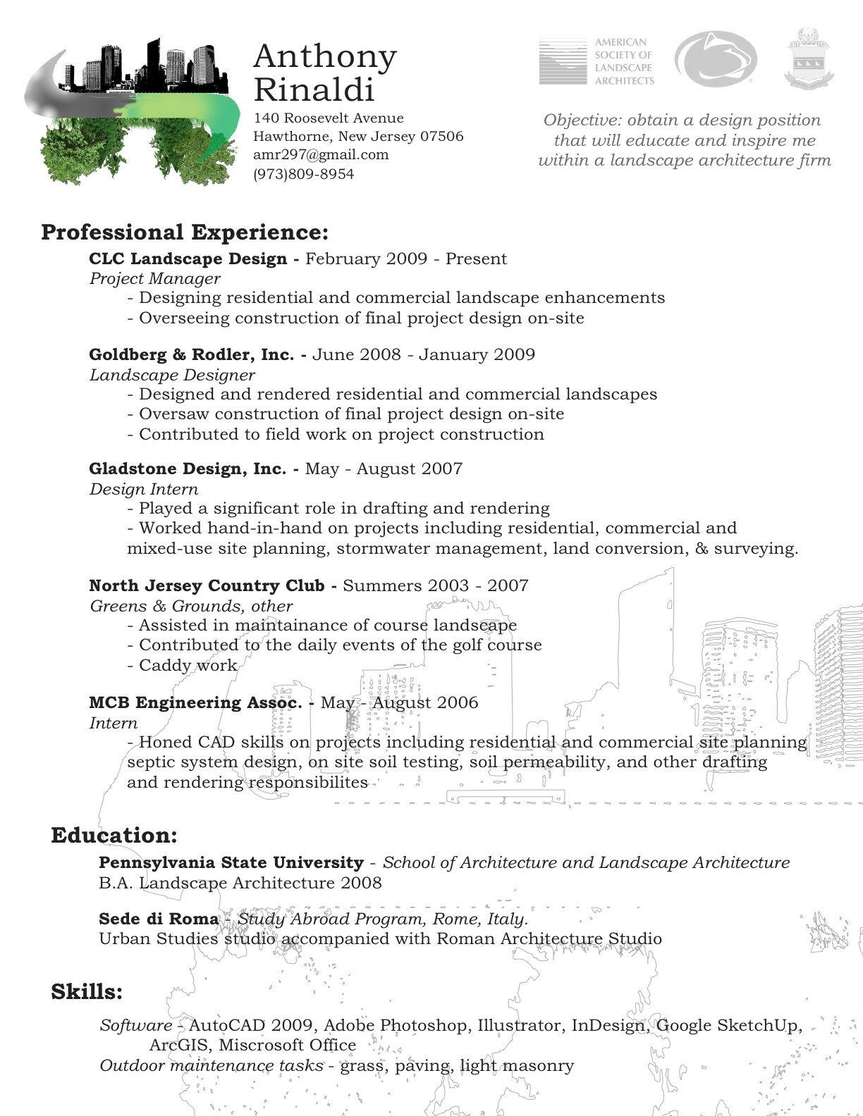 Skills For Landscaping Resume