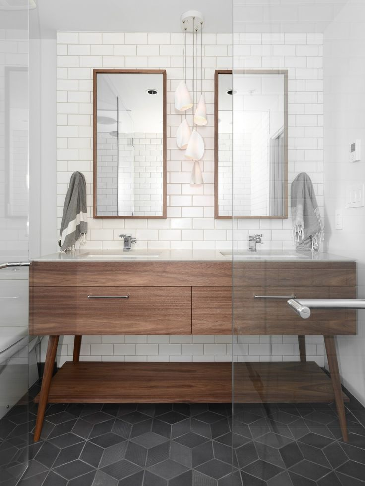 gorgeous modern bathroom with mid century vanity, slate