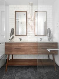 gorgeous modern bathroom with mid century vanity, slate