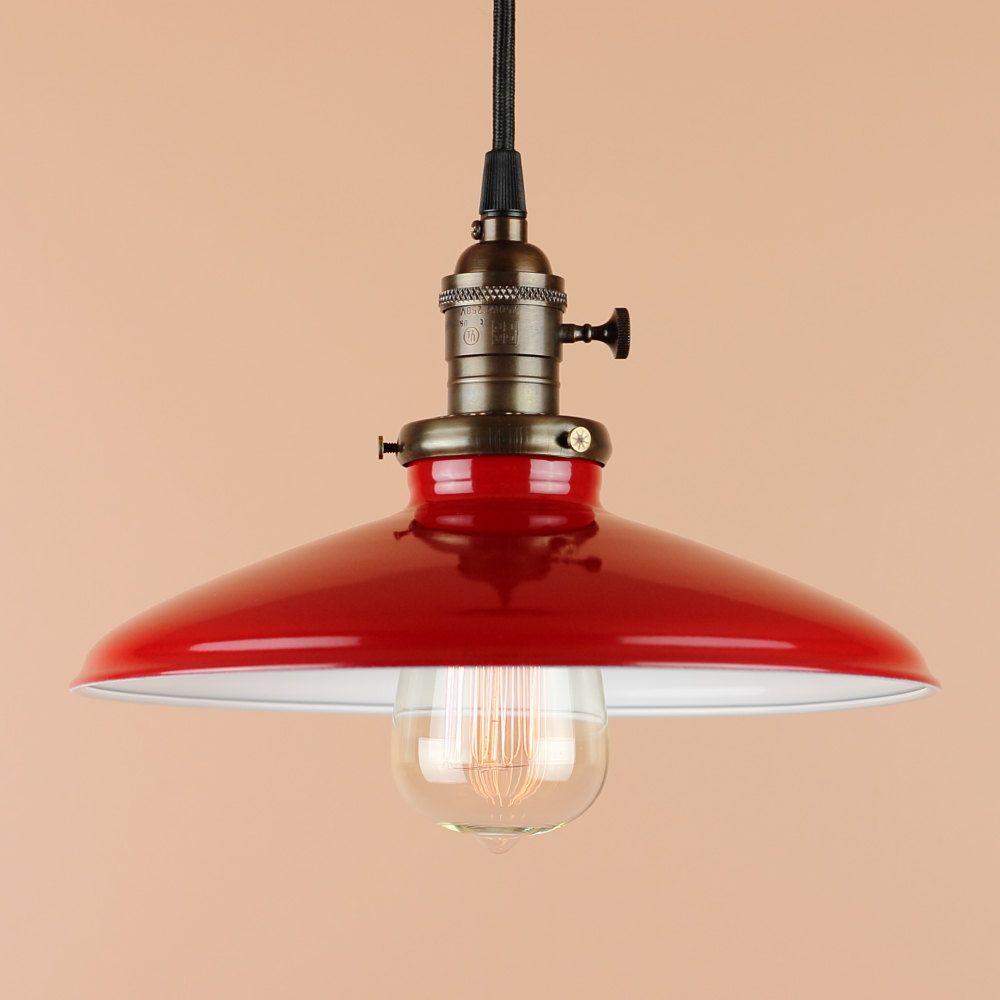 metal barn light pendant red